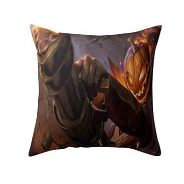 Imagem de SL&LFJ Capa de almofada com tema de Halloween Capa de almofada de algodão para decoração de escritório para sofá, cama, sofá, decoração de carro, festa, festival, sala de estar, presente para a família (cor: G)