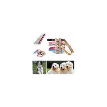Coleira de cachorro Pet Puppy Supply Crystal Rhinestone Bowknot Couro pu ajustável