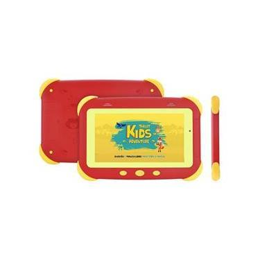 """Imagem de Tablet DL Kids Adventure, Android, Tela 7"""", 8GB/1GB, WiFi, Câmera, Proteção de impacto, Vermelho"""