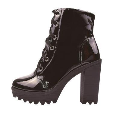 Bota Coturno Salto Alto CHYRRO Calçados Verniz Preto  feminino