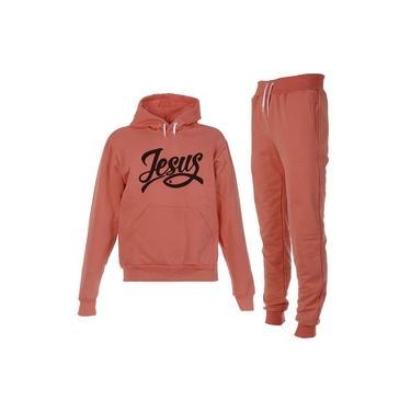 Conjunto Moletom Jesus Infantil Juvenil Peluciado Coral