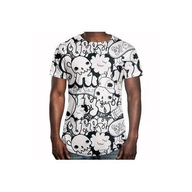 Camiseta Longline Swag Grafite Caveiras