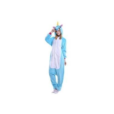 Pijama kigurumi Unicórnio - Cor: Azul Claro
