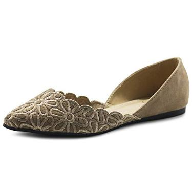 Ollio Sapatos Femininos Camurça Sintética Conforto Floral Bordado Ponta Sapato Sapatilha de Balé F91, Bege, 7.5