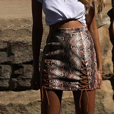 Saia Curta,Baugger Novas Mulheres Sexy PU Mini Saia Pele De Cobra Impressão Lace-Up Oco Out Bandagem De Cintura Alta Bodycon Saia Vermelha/Café/bege