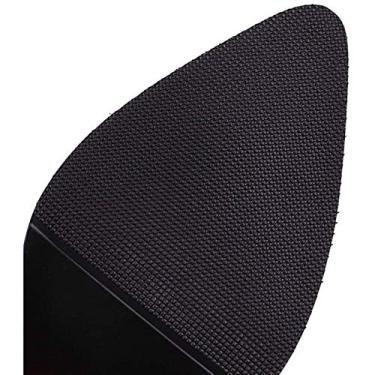 Imagem de PLAYH Sapatos femininos de salto grosso, bico fino salto alto feminino, couro PU slip-on sapato feminino moda couro (cor: branco, tamanho: 43)