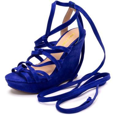 Sandália Anabela Gladiadora de Nó Gisela Costa Azul  feminino