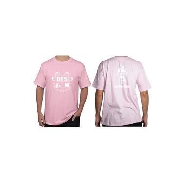 Camiseta Camisa Unissex Kpop Bts Bangtan Boys Logo Colete Todos Os Integrantes Rosa