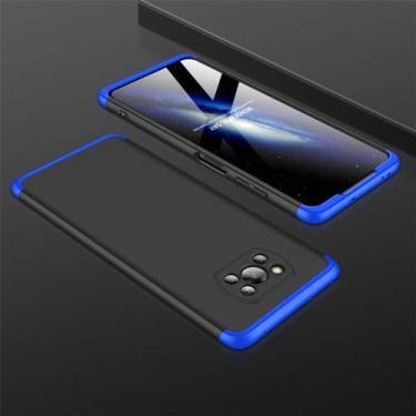 """Capa Case Capinha 360º Anti Impacto Fosca Para Xiaomi Poco X3 com Tela de 6.67"""" Polegadas Case Acrílica Fosca Acabamento Slim Macio (Preto/Azul)"""