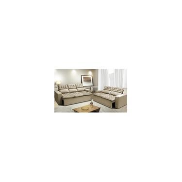 Imagem de Conjunto de Sofá 3 e 2 Lugares Retrátil e Reclinável Cama inBox Slim 2,00x1,50m Velusoft Bege