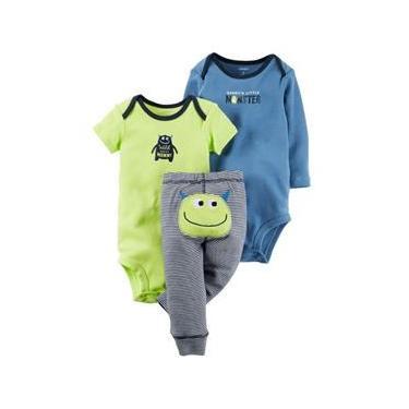 Conjunto 3 Peças Daddy`s Little Monster Carter`s (1 Body ML + 1 Body MC + 1 Calça)