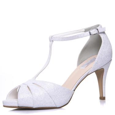 Sandália Noiva Gliter Branco Salto Médio Plataforma - 62134 Branco 073200140108 feminino