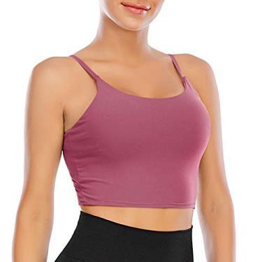 Sutiãs esportivos femininos longline acolchoado sutiã yoga cropped regata fitness treino corrida sutiã com bojos removíveis, Vermelho rosa, S