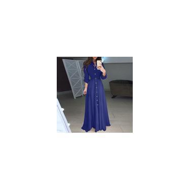 Vestido longo feminino fashion com cinto de manga comprida lapela com botão solto para festa vestido maxi plus size Azul M