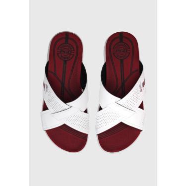 Imagem de Sandália Slide Pegada Transpasse Branco/Vermelho Pegada 173504-01 masculino