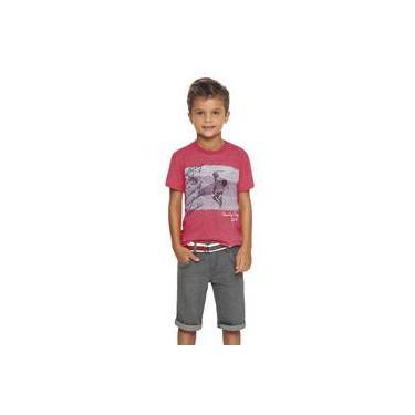 Conjunto Menino Camiseta Coral Surf E Bermuda Jeans Grafite Quimby