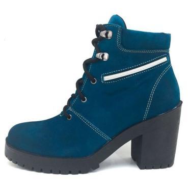 Bota Coturno Couro Cano Curto Salto Baixo Conforto Azul  feminino