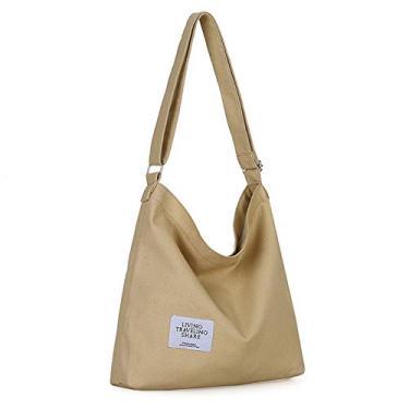 Covelin Bolsa de ombro feminina retrô tamanho grande de lona Hobo transversal bolsa casual, Light Taupe