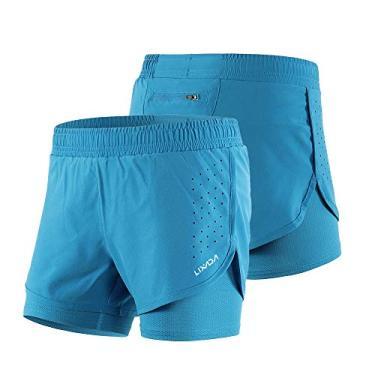 Shorts esportivos, Andoer Shorts de corrida 2 em 1 para mulheres de secagem rápida e respirável, exercício de treino ativo, Shorts de ciclismo de corrida com forro mais longo