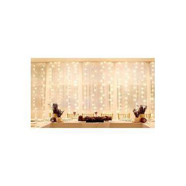 cortina pisca pisca led 384 leds 220v branca quente fixa  3m x 2m