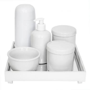 Kit Higiene Espelho Completo Porcelanas e Garrafa Pequena Branco Quart