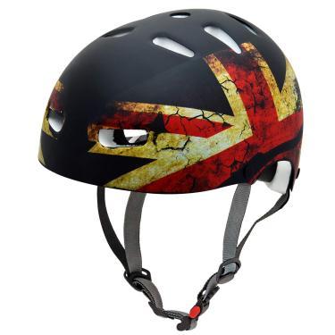 Capacete Kraft Capacetes Bandeira Inglaterra Skate/Patinete/Scooter Elétrica, Preto, G