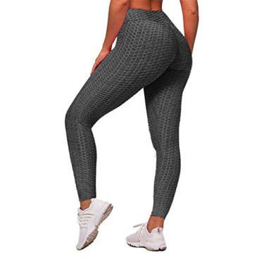Memoryee Calça legging feminina de cintura alta para corrida, levanta bumbum, Tinta espacial preta, L
