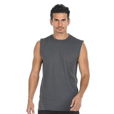 Imagem de Camisa masculina leve de compressão com tecido de carvão 2018, Cinza, M