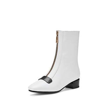 Imagem de TinaCus Bota feminina de couro legítimo com bico quadrado feito à mão com zíper frontal confortável salto baixo elegante cano médio, Branco, 10