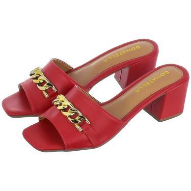 Imagem de Sandália Feminina Tamanco Salto Alto Bloco Donatella Shoes com Corrente Vermelho  feminino