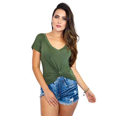 Blusa T Shirt Podrinha Camiseta Decotada Feminina Moda Verão Tamanho:M;Cor:verde