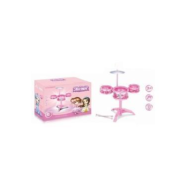 Bateria Infantil Meninas Rocky Princesas Rosa Mini Musical Instrumento Completo Com 3 Tambores E Disco