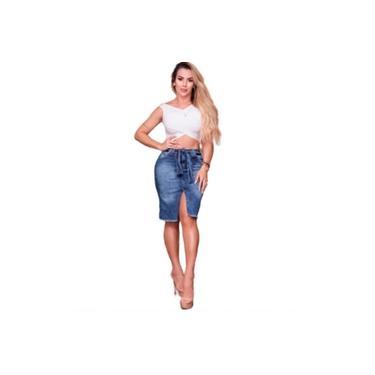 Saia Jeans Feminina Moda Evangélica Com Fenda
