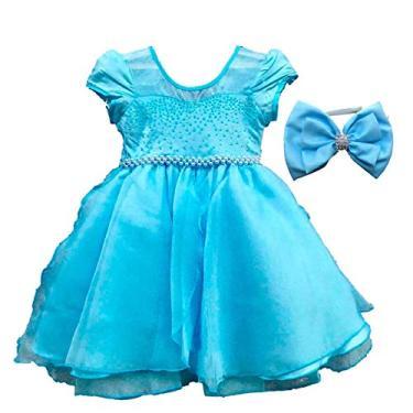 Vestido de Festa Princesa do Gelo Luxo Com Tiara EG 13-14