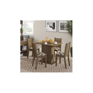 Conjunto Sala de Jantar Lexy Madesa Mesa Tampo de Madeira com 4 Cadeiras - Rustic/ Floral Hibisco -