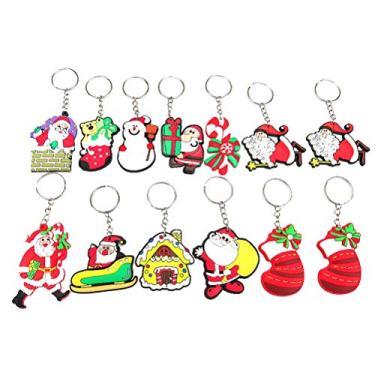 Imagem de cabilock 14 peças de chaveiros com tema de Natal de PVC, chaveiros de borracha criativos, acessórios de joias para chaveiro de carro, bolsa de presente (padrão aleatório)