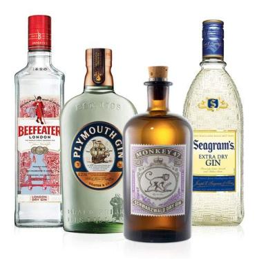 1 Gin Beefeater Dry 750ml + 1 Gin Seagrams 750ml + 1 Gin Plymouth 750ml + 1 Gin Monkey 500ml