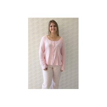 Pijama feminino inverno aberto com botões gestante rosa 100%algodão
