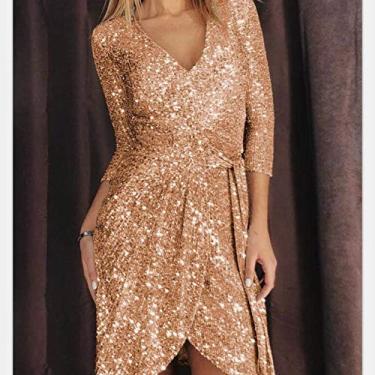 Imagem de Vestido feminino formal sexy da DishyKooker com lantejoulas e decote em V e faixa midi para noite, Dourado, X-Large