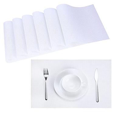 Imagem de Jogo americano Zupro de 45 x 30 cm de PVC trançado para mesa de jantar, jogo americano resistente ao calor, resistente a manchas, antiderrapante, lavável, jogo americano de vinil de tecido para o dia de Natal, jogo de 6 (branco)