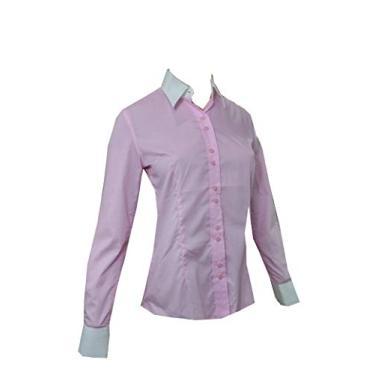 Camisa Social Feminina Manga Longa Lady Tie Rosa/Branco