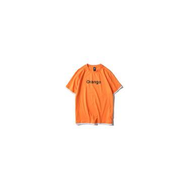 Laranja Impresso Sportswear T-shirt Camisa Muscular Tendência 2019 Roupas De Marca De Algodão Cas