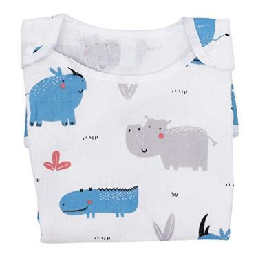 STOBOK Wearable Cobertor Do Bebê Saco de Dormir Envoltório Swaddle Saco de Dormir Saco de Algodão Mangas Verão para Recém- Nascidos Bebês Crianças Da Criança Infantil 50-80Cm Azul