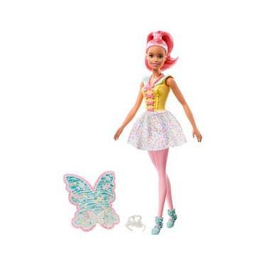 Imagem de Boneca de Fada Barbie Dreamtopia, aproximadamente 12 Polegadas, com Um Tema Colorido doce, Cabelo Rosa e Asas, para 3 a 7 Anos de Idade