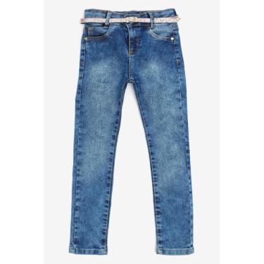 Calça Infantil Jeans Medio com Cinto Dourado Avenida