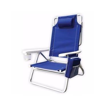 Cadeira de Praia e Camping Dobrável 5 posição com Bolsa Térmica Azul - Kala
