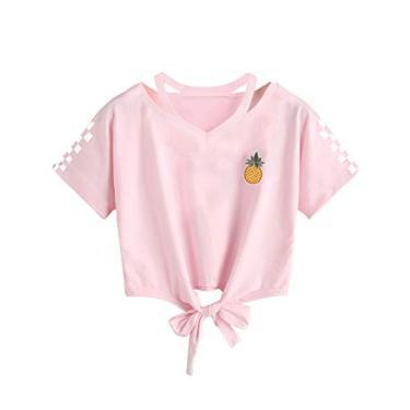 Imagem de Blusa cropped feminina com capuz e estampa de abacaxi com estampa de blusa, pulôver, tops, Rosa 5, L