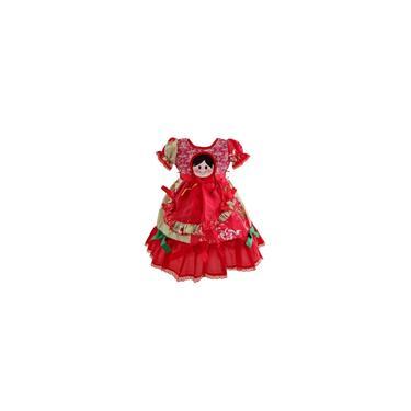 Imagem de Vestido Infantil Caipira Festa Junina Vermelho com Shorts