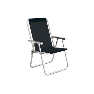 Cadeira de Praia Alta +Conforto Alumínio Tecido Sannet Preto - Mor