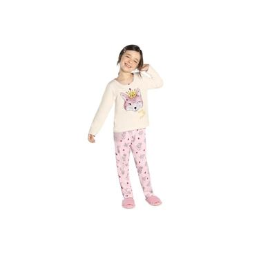 Pijama Infantil Feminino Raposa Rovitex Kids Bege